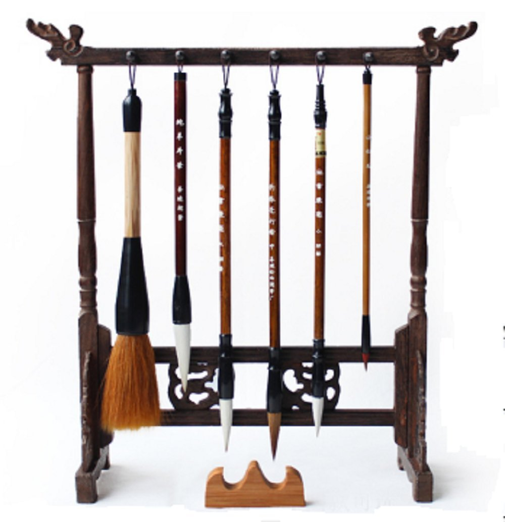 SGM-Art Chinese Calligraphy Brush & Rack set【 6 Brushes 】 sumi Drawing