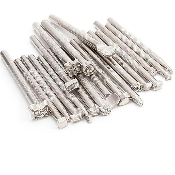 25 Stk Edelstahl Punziereisen Punzierstempel Präge Stempel Werkzeug Für Leder