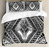 Black and White Decorations Duvet Cover Set King Size by Ambesonne, Eiffel Tower View From Below Paris French Monument Image, Decorative 3 Piece Bedding Set with 2 Pillow Shams, Grey Black White