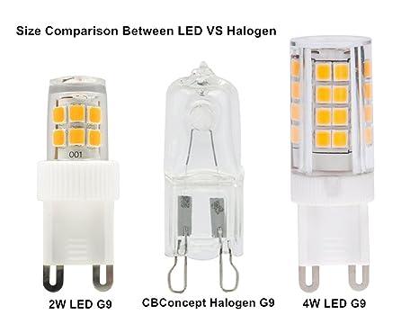 CBConcept 5 Pack 2 Watt 250 Lumen Standard Size G9 LED Bulb Warm White 3000K 25W Halogen Bulbs Equivalent 360 Beam Angle 120 Volt T4