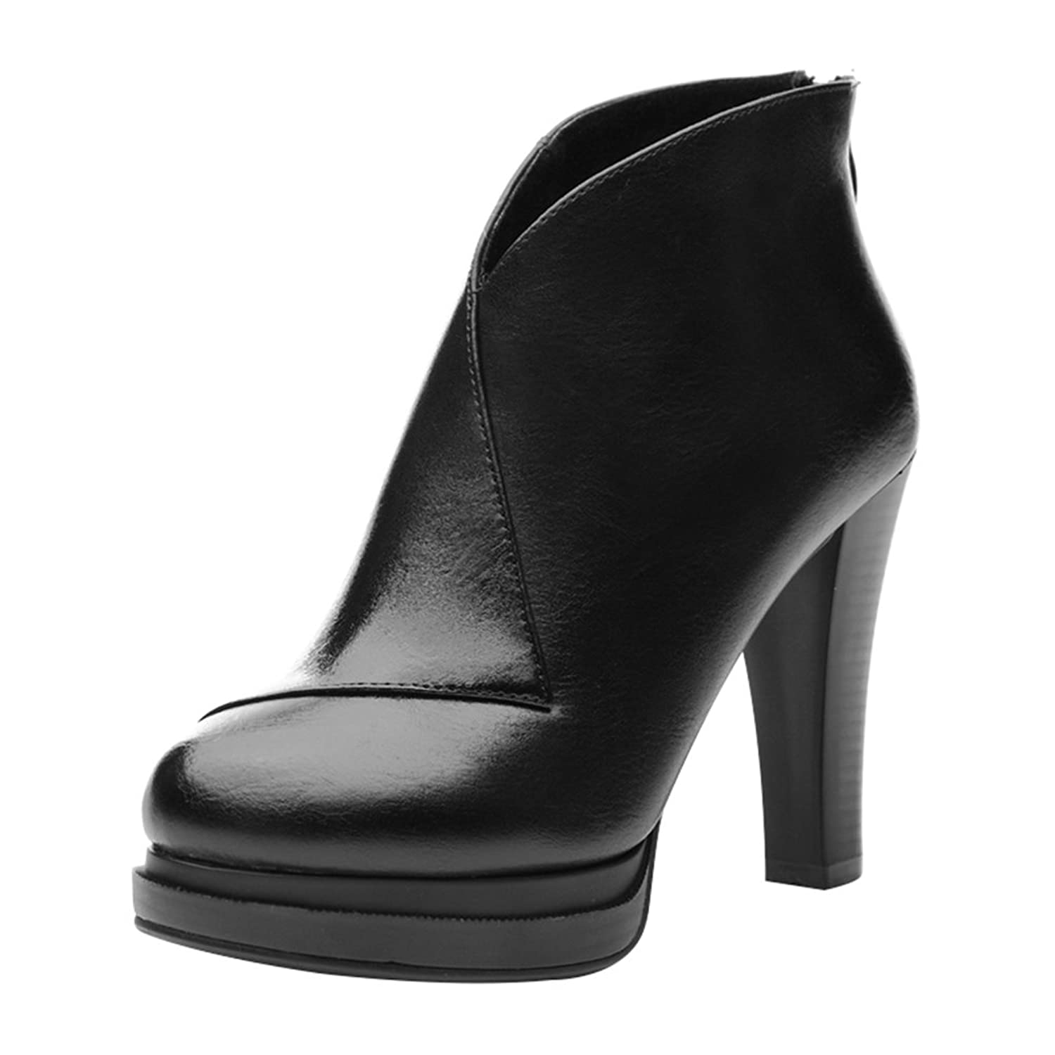 Passionow Women's Fashion Round Toe Fur Lined Block Heel Back Zipper Platform PU Leather Ankle Booties
