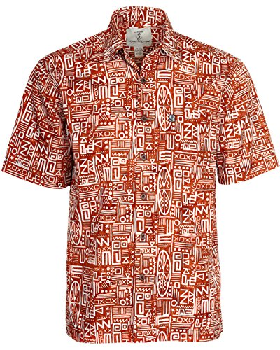 - Artisan Outfitters Mens Surfboard Longboard Batik Cotton Hawaiian Shirt (Large, Orange/White) A0214-53-L