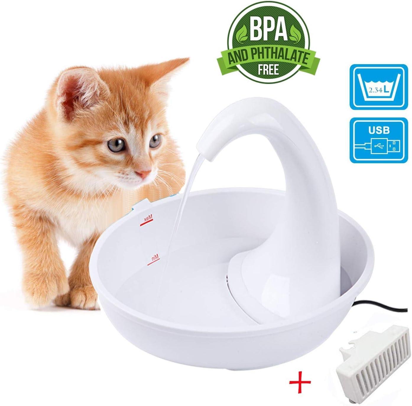 ADOV Fuente Gatos, 2.4L Automatico Electrico Flor Estilo Mascotas Dispensador de Agua, Higiénico, Tapa de Acero Inoxidable Bebedero con Filtro, Adaptador Cable USB para Gato Perros Animales Pequeños
