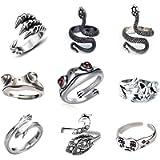 9 Pcs Vintage Frog Open Rings Set Knuckle Stacking Ring Snake Cat Animal Ring Boho Hug Finger Rings for Women Men Girls