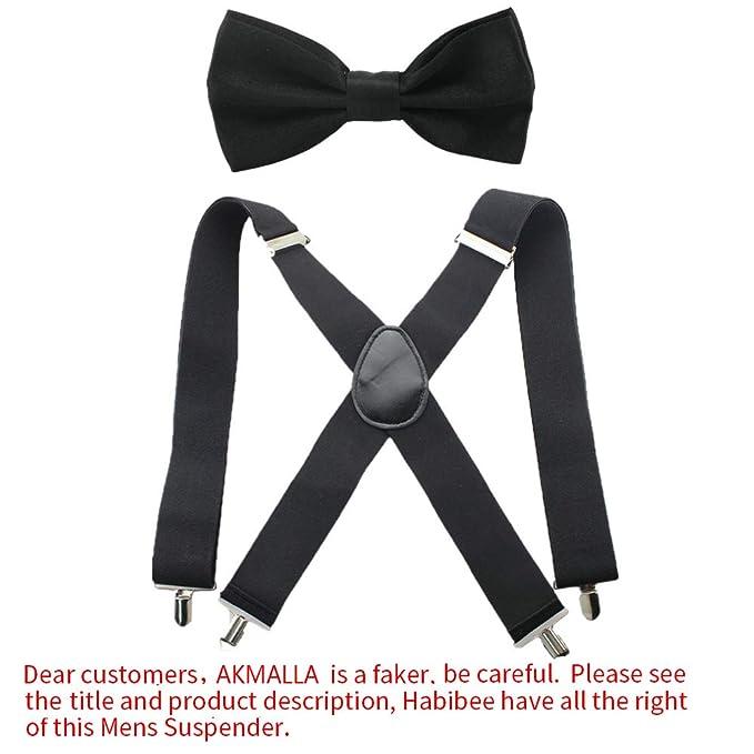 757c71c08c66 HABIBEE Solid Color Mens Suspender Bow Tie Set Clip On Y Shape Adjustable  Braces (Black 5120cm): Amazon.in: Clothing & Accessories