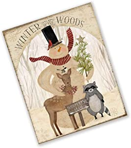 """Yohoba Primitive Snowman Sign with Deer and Racoon - Rustic Christmas Wreath Sign 6""""x12"""""""