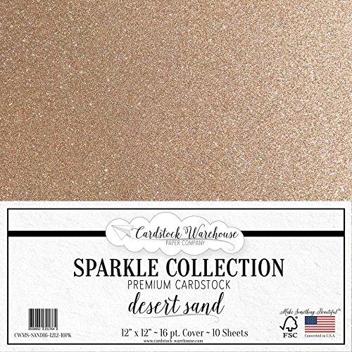 MirriSparkle Desert Sand (Rose Gold) Glitter Cardstock Paper from Cardstock Warehouse 12