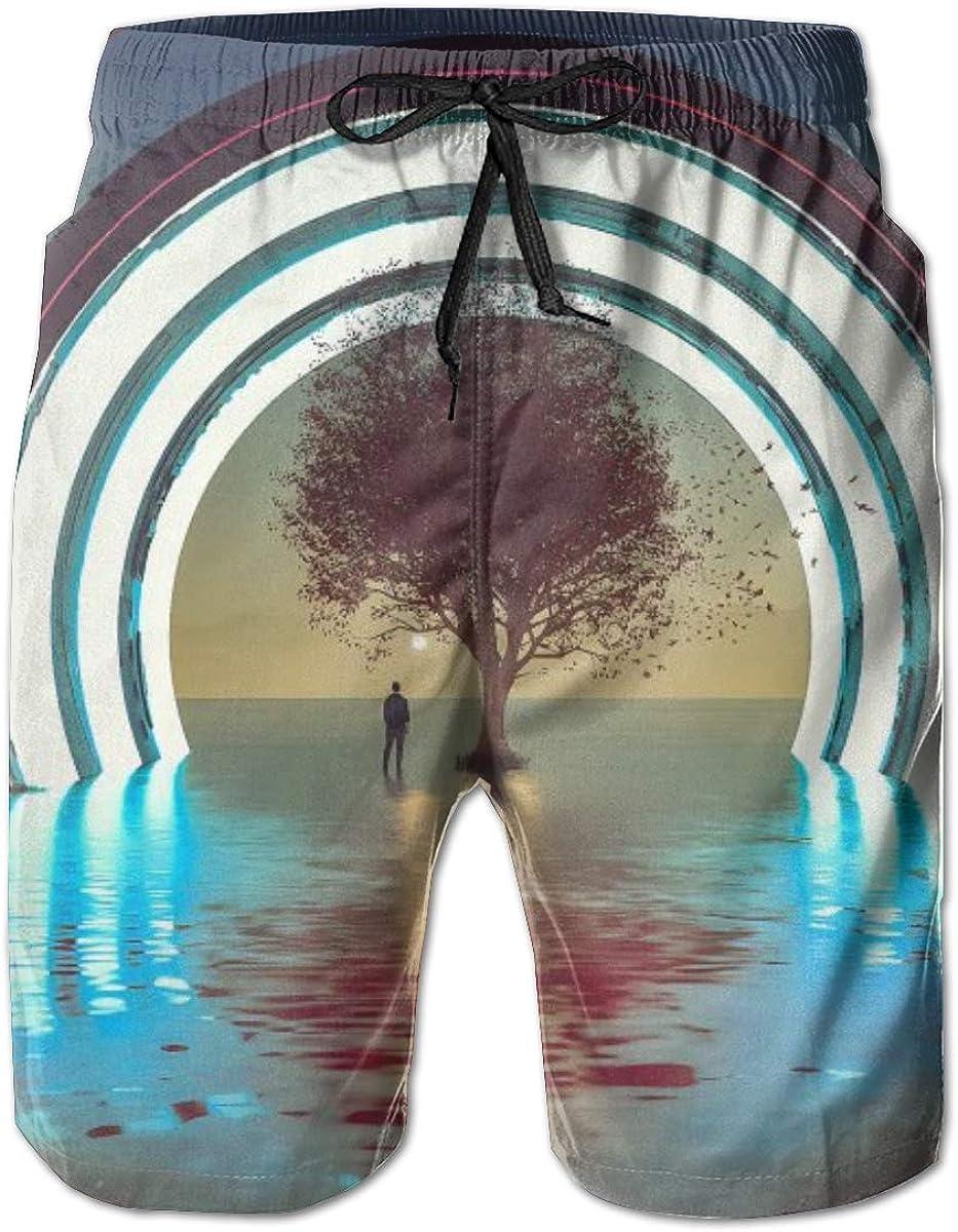 KAGAWASHIN Heaven Art Pantaloncini da Spiaggia Uomo Nuotare Corti Bermuda Tronchi Veloce Asciutta Pantaloni Rapida