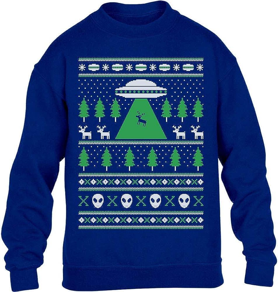 H/ässlicher Weihnachtspulli Motiv UFO Ausserirdisch Kinder Pullover Sweatshirt