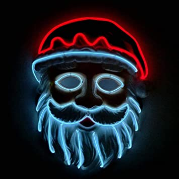 wonderfulwu Blinkende Cosplay LED Licht Maske Weihnachtsmann Kostüm ...