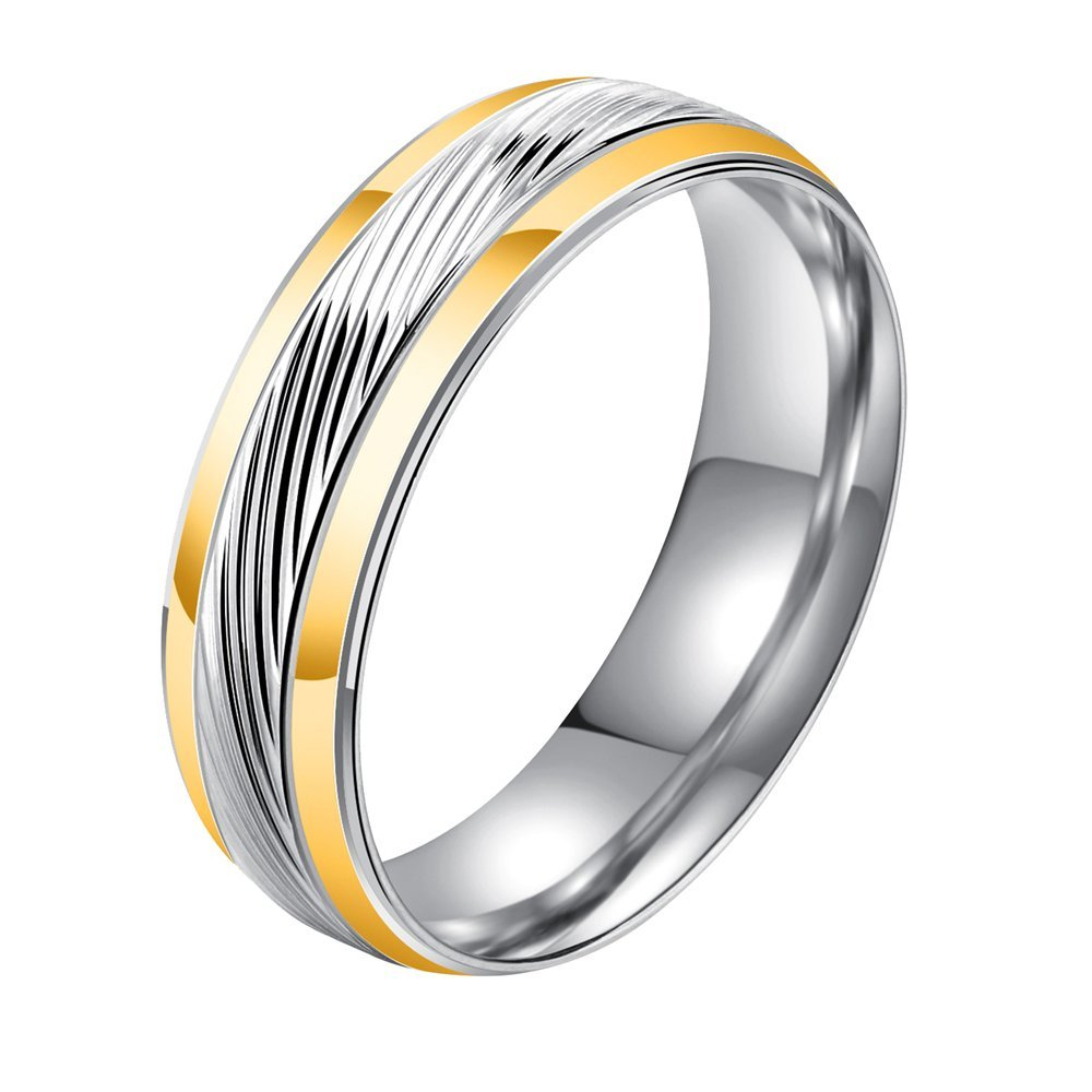 Onefeart Stainless Steel Ring For Men Boy Simple Style Twill Design Gold Silver US Size 9 Fashion Jewelry