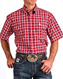Cinch Men's Plaid Short Sleeve Double Pocket Shirt Red Small
