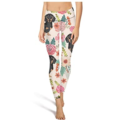 8956ca000c356 juiertj rt Long Jogging Doxie Dachshunds Wiener Dog Flowers Florals Leggings  Woman Slim-Fit Fitness Yoga Pant at Amazon Women's Clothing store: