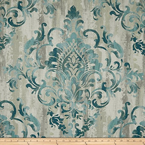 Swavelle/Mill Creek Cauthen Damask Barkcloth Teal Fabric by The Yard