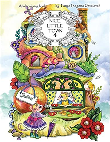Amazon Com Nice Little Town Adult Coloring Book Stress Relieving