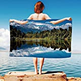 iPrint Lake-House-Decor Quick Dry Plush Microfiber (Towel+Square scarf+Bath towel) Mirror-Reflection-on-Lake-by-the-Forest-with-Cloudy-Sky-in-Southern-Alps And Adapt to any place
