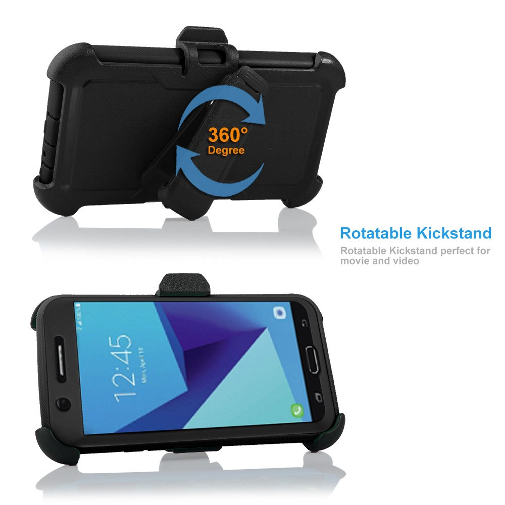 For Samsung Galaxy J7/Sky Pro/J7 Prime/J7V/J727/Perx/Halo Full Body Rugged Holster Explorer Armor Case with Built in Screen Protector (Black) by customerfirst (Image #3)