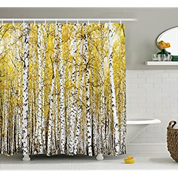 Awesome Farm House Decor Shower Curtain Set By Ambesonne, Autumn Birch Forest  Golden Leaves Woodland October