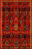 ADGO Siena Collection Traditional Oriental Live Red and Orange Design Shabby Chic Shed Free Area Rug (8′ x 10′)