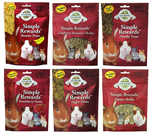 Oxbow Simple Rewards Treats for Rabbits, Guinea Pigs, and Hamsters Variety Pack - 6 Flavors (Timothy, Banana, Strawberry, Papaya, Cranberry-Rosemary, and Veggie Treats) - 6 Total Pouches