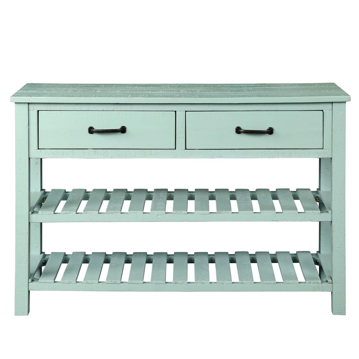 Entryway with Two Drawers and Twin Bottom Shelves Living Room Furniture Gap Tiers Shelf, Antique Blue