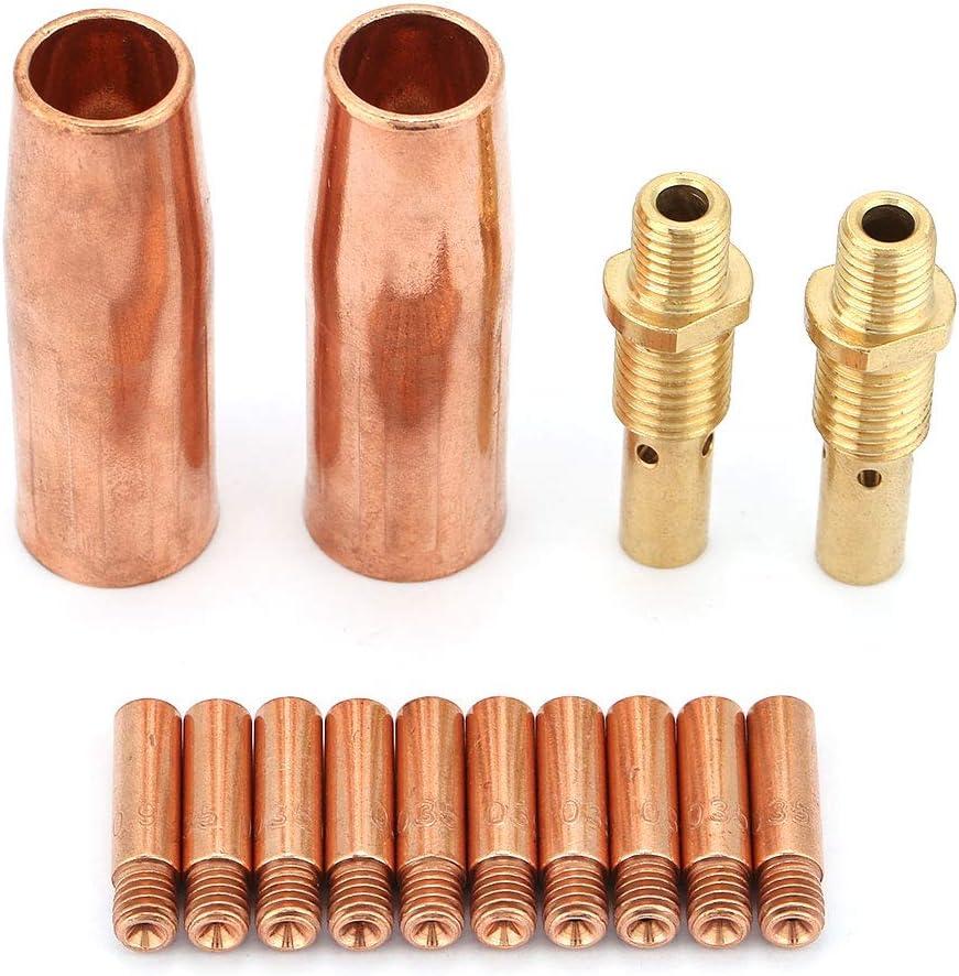 puntas de soldadura Lincoln Kit de juego de puntas de difusor de boquilla de punta de antorcha para pistola de antorcha Tweco Pistola de soldadura MIG 14 piezas Puntas de contacto de soldadura
