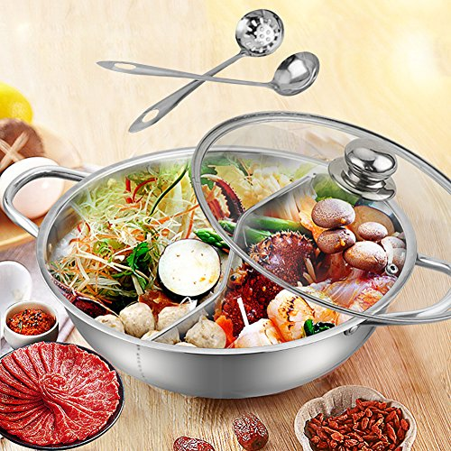 Hot Pot, Giveme5 Stainless Steel Twin Hot Pot Cookware Shabu Shabu Dual Sided Induction Cooker Gas Furnace Include Pot Lid and Pot Spoon (30cm) (Fondue Dual)