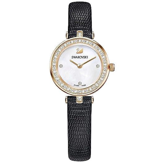 Swarovski Reloj de mujer cuarzo correa de lagarto genuino color negro 5376642: Amazon.es: Relojes