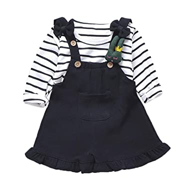 f03c473e28 Amazon.com: Pollyhb Baby Girl Shorts Set, Toddler Kids Baby Stripe Print  Love Sleeve Tops+Overalls Shorts Clothes Outfits Black: Clothing