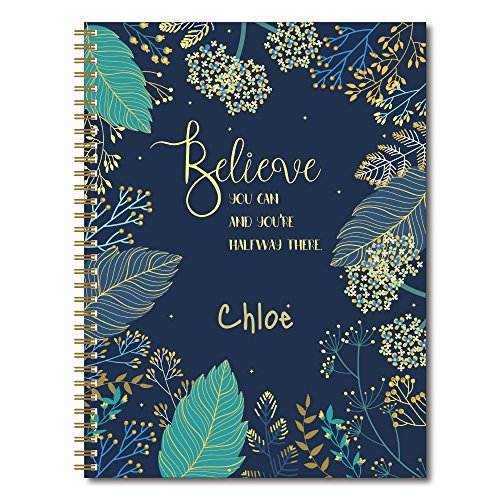 "Believe You Can Personalized Notebook/Journal, Laminated Soft Cover, 120 College Ruled or Bullet Journal pages, lay flat wire-o spiral. Multiple sizes, 8.5"" x 11"", 5.5"" x 8.5"". Made in the (Covered Journal)"