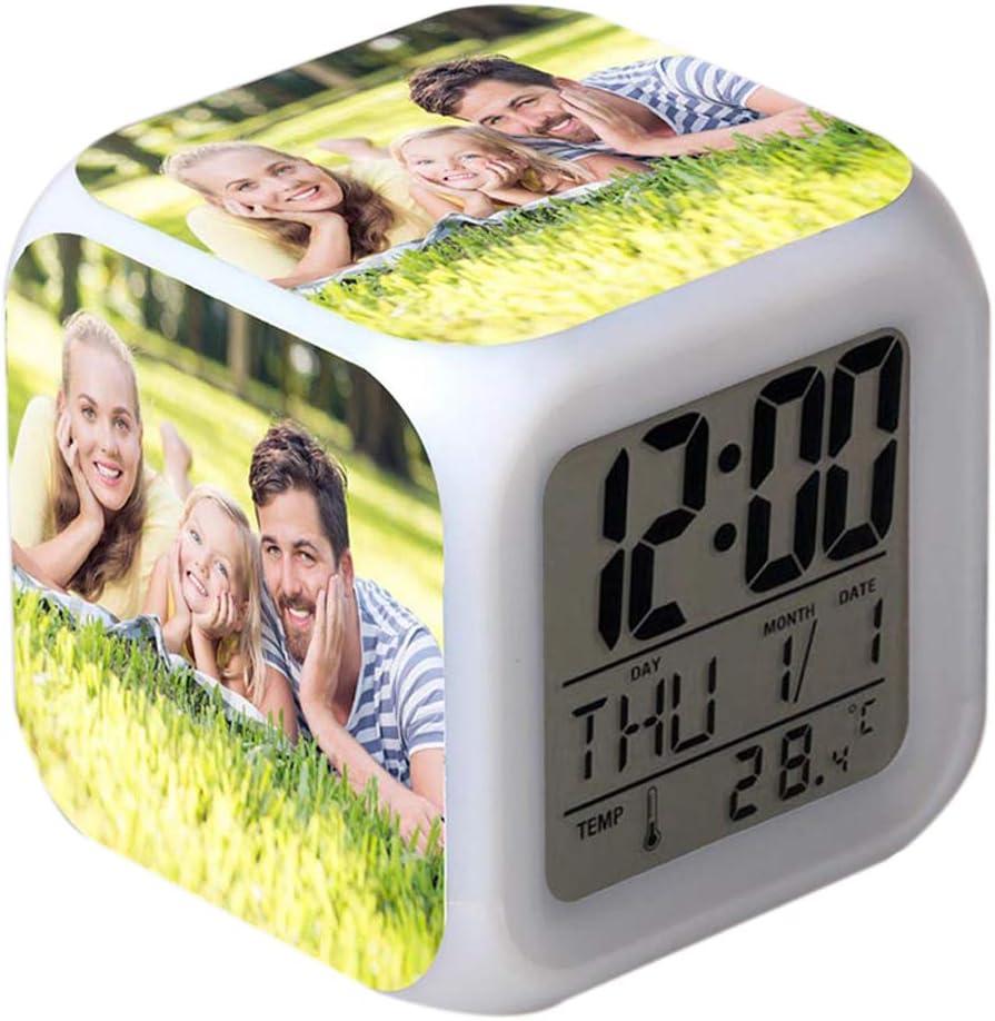 Cadeaux danniversaire pour Enfants Femmes Chambre Haooyeah DIY Personnaliser Photos LED R/éveil Num/érique LED 7 Couleurs Changement Num/érique R/éveil Chambre