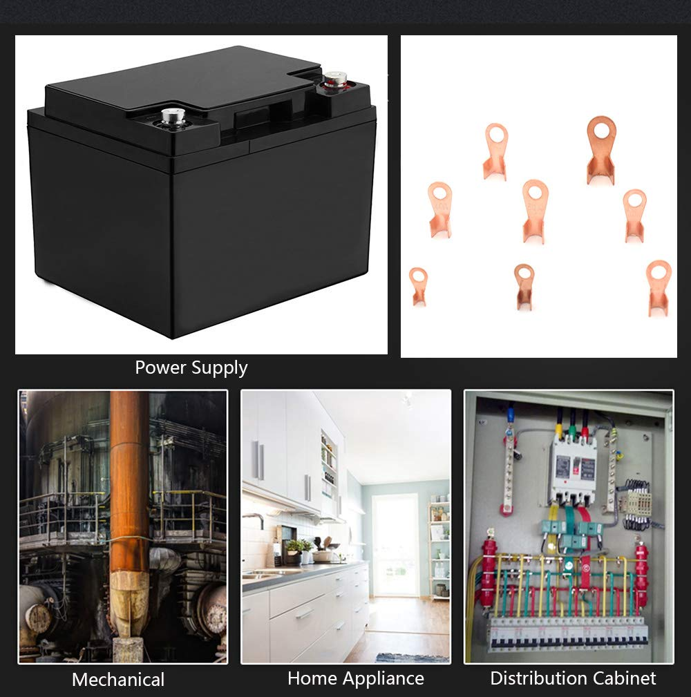 Tueascallk 185 Pcs 5-20 AWG Automotive Marine Power Battery Cable Ring Lug Crimp Terminal Connector Classification Kit OT-5A 10A 20A 30A 40A 50A 60A 100A