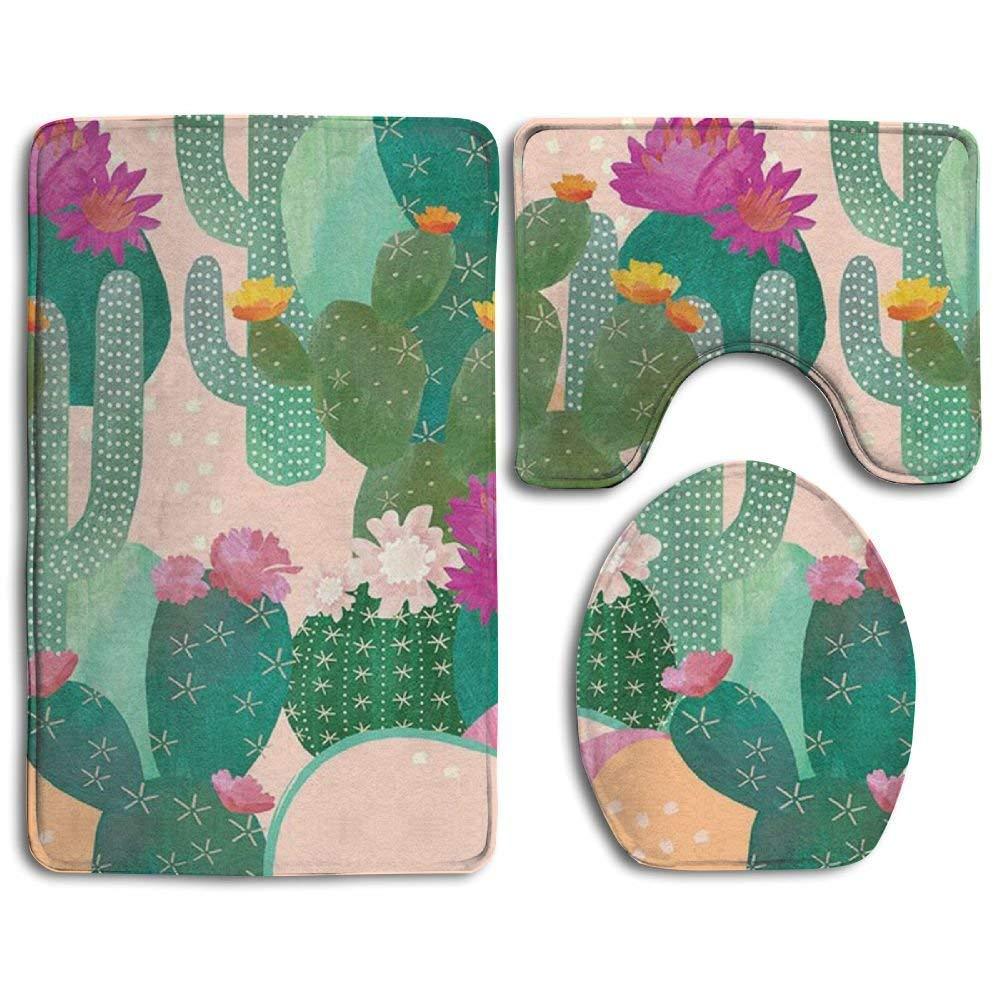 Bath Mat,3 Piece Bathroom Rug Set,Colorful Cactus Non Slip Toilet Seat Cover Set,Large Contour Mat,Lid Cover for Men/Women CAHUI1