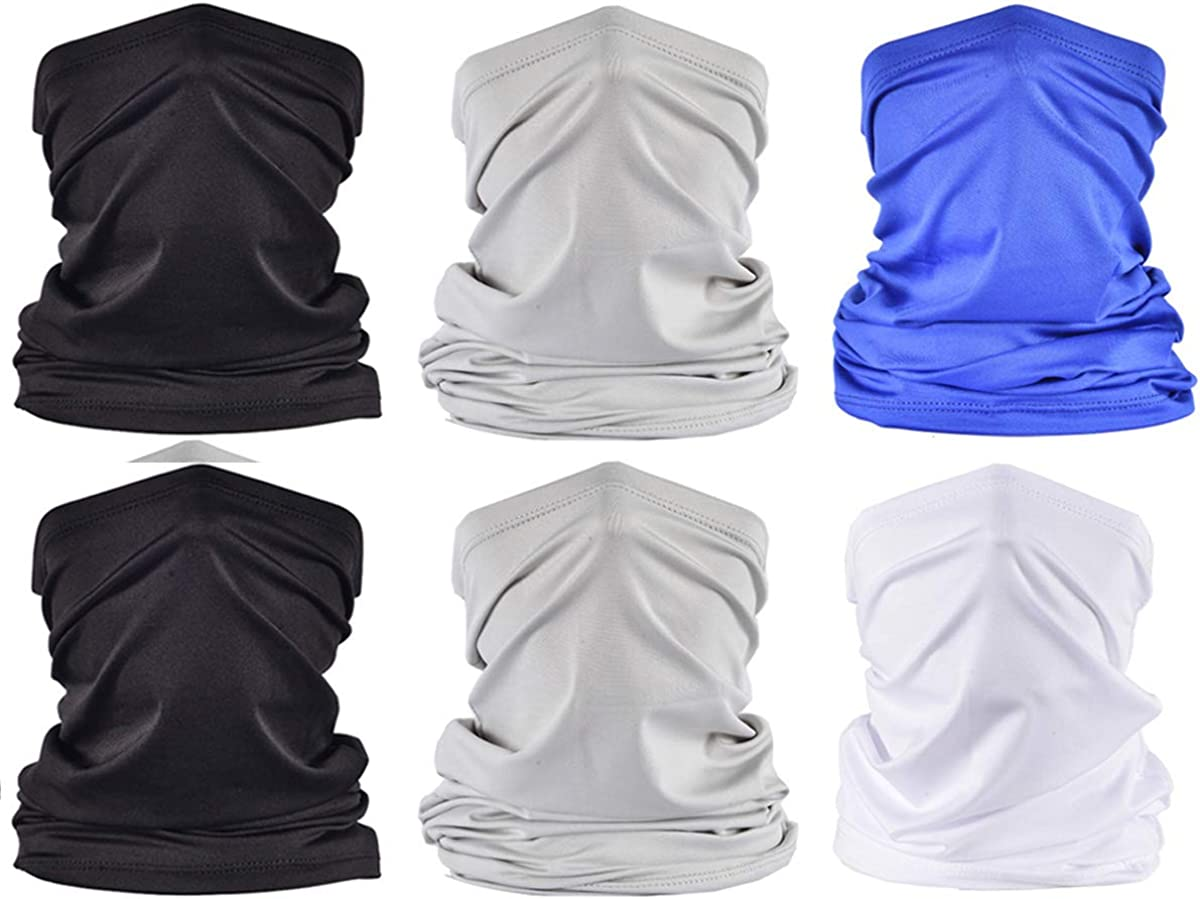 6 Pieces Neck Gaiter Bandana Face Scarf UV Dust Wind Protection Magic Breathable Face Cover Summer