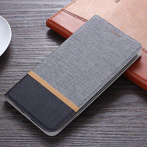 Funda Huawei Y6 2017, SunFay Cartera Carcasa Flip Folio Caja Piel PU Suave Super Delgado Estilo Libro,Soporte Plegable para Huawei Y6 2017 - Negro Gris