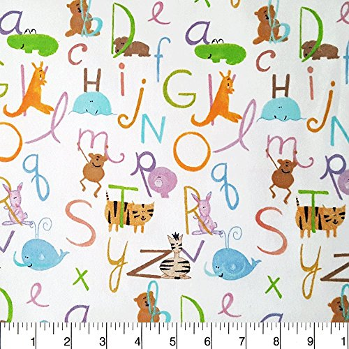 Comfy Flannel Alphabet Animals on White Fabric Sold by the Yard