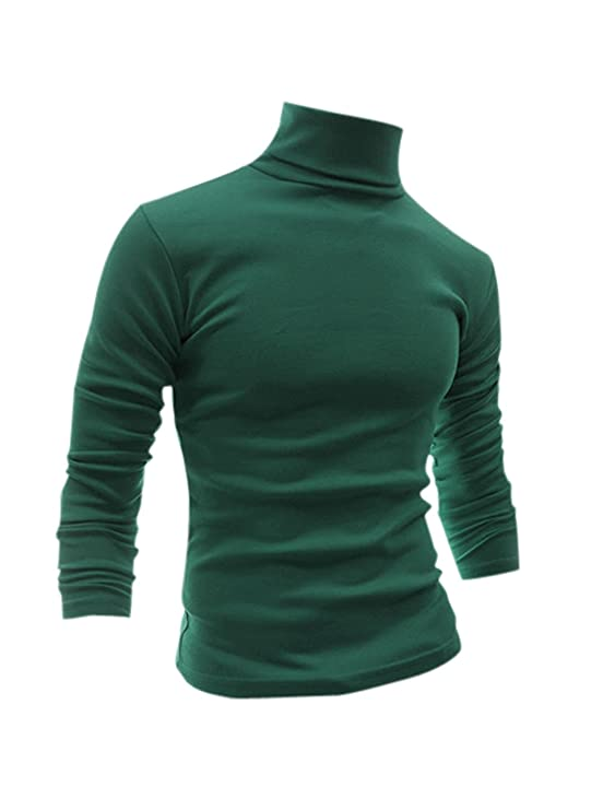 1960s Men's Clothing, 70s Men's Fashion uxcell Men Slim Fit Lightweight Turtleneck Long Sleeve Pullover Top Turtleneck T-Shirt $19.99 AT vintagedancer.com