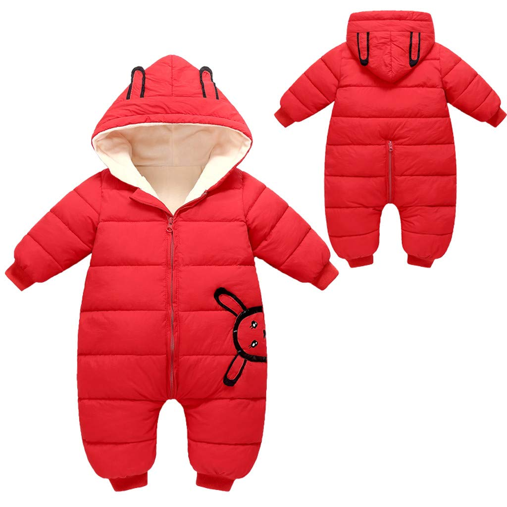 Sameno Cute Bunny Hoodie Baby Winter Snowsuit 0-2 T Newborn Infant Bodysuit Down Suit Snow Coat Organic Cotton Jumpsuit by Sameno baby clothing