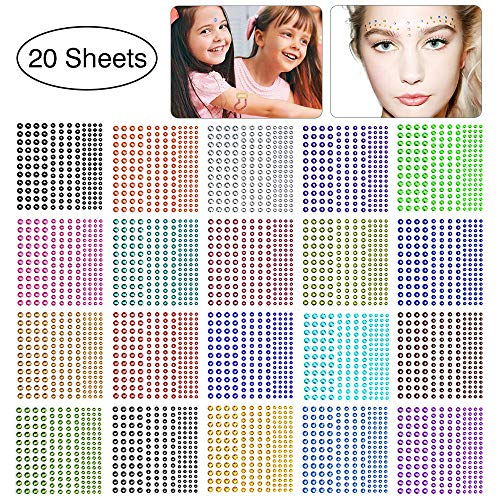 Stickers Crystal Scrapbook - Self Adhesive Rhinestones, Face Gems Rhinestone Stickers, Assorted 3300 PCS Crystal, 20 Colors 4 Sizes Face Jewels Sticker Embellishments Sheet for Craft, Makeup, Body, Nails by UBEGOOD