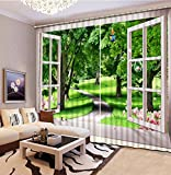Sproud 3D Printing Curtains Lifelike Blackout Cortians Beautiful Full Light Shading Bedroom Livng Room Curtains 260Dropx300Wide(Cm) 2 pieces
