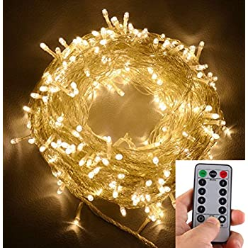 echosari 100 leds outdoor led fairy string lights battery operated with remote dimmable timer - Christmas Light Timers