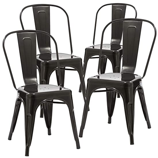 Duhome 4 PCS Stackable Metal Dining Chair Restaurant Cafe Kitchen Indoor Outdoor Metal Chair Black