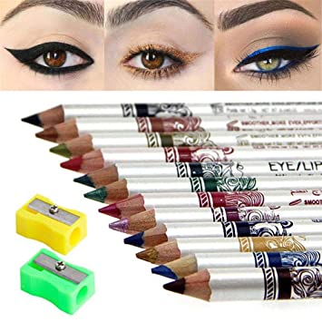 Amazon Com 12 Colors Best Thick Black Eyeliner Pencils Set Eye Liners For Women Waterproof Smudge Proof Long Lasting Black Blue Brown Sepia Eyeliner Pencil Waterproof Eye Liner Set Set01 12pcs And Two