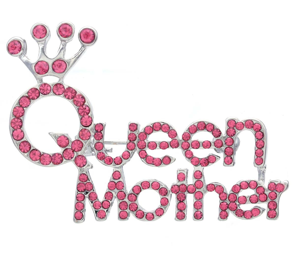 Crown Tiara ''Queen Mother'' Mother's Day Gift Brooch Pin Charm Rhinestone Gift for Mom (Pink)