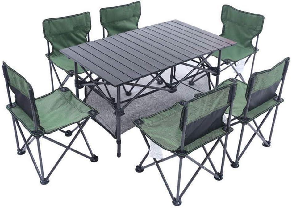 LIBOYUJU Mesa y sillas Plegables para Exteriores, mesas y sillas Plegables para Varias Personas, Equipo de Auto-conducción para Acampar en Barbacoa