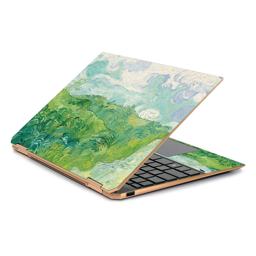 MightySkins Skin Compatible with HP Spectre x360 13.3'' Gem-Cut (2019) - Green Wheat Fields | Protective, Durable, and Unique Vinyl Decal wrap Cover | Easy to Apply| Made in The USA