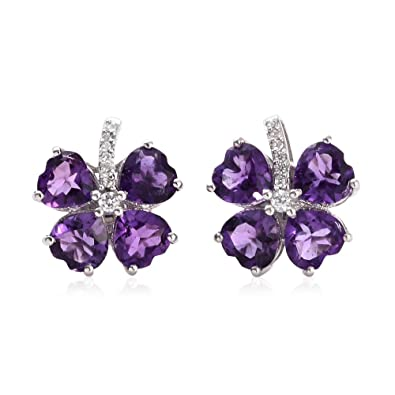 TJC Women Platinum Plated 925 Sterling Silver Sapphire and Cambodian Zircon Stud Earrings Kp4YY1