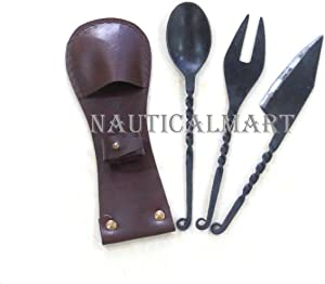 NauticalMart Geschm iedetes 3 pieces cutlery Knife, Fork, Spoon with leather Decoration Cutlery Medieval Viking