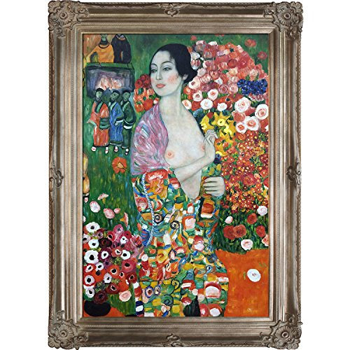 La Pastiche Die Tanzerin, 1916-18 The Dancer Metallic Embellished Artwork By Gustav Klimt With Renaissance Champagne Frame (Renaissance Champagne Frame)