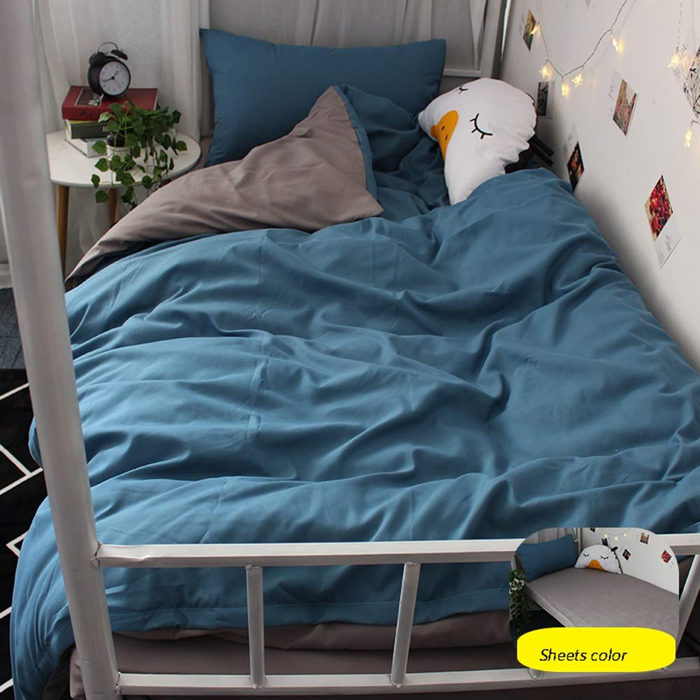 ARESS-Fitted sheets Three-Piece Bed Sheet - Four-Piece Set of Simple Solid Color Bedding for Single Bedroom in Student Dormitory - Bedding (Color : A, Size : 0.9m)